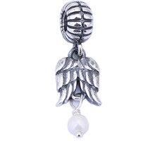 100% 925スターリングシルバービーズ天使の羽パールチャームパンドラジュエリーブレスレットペンダントdiyのジュエリー卸売