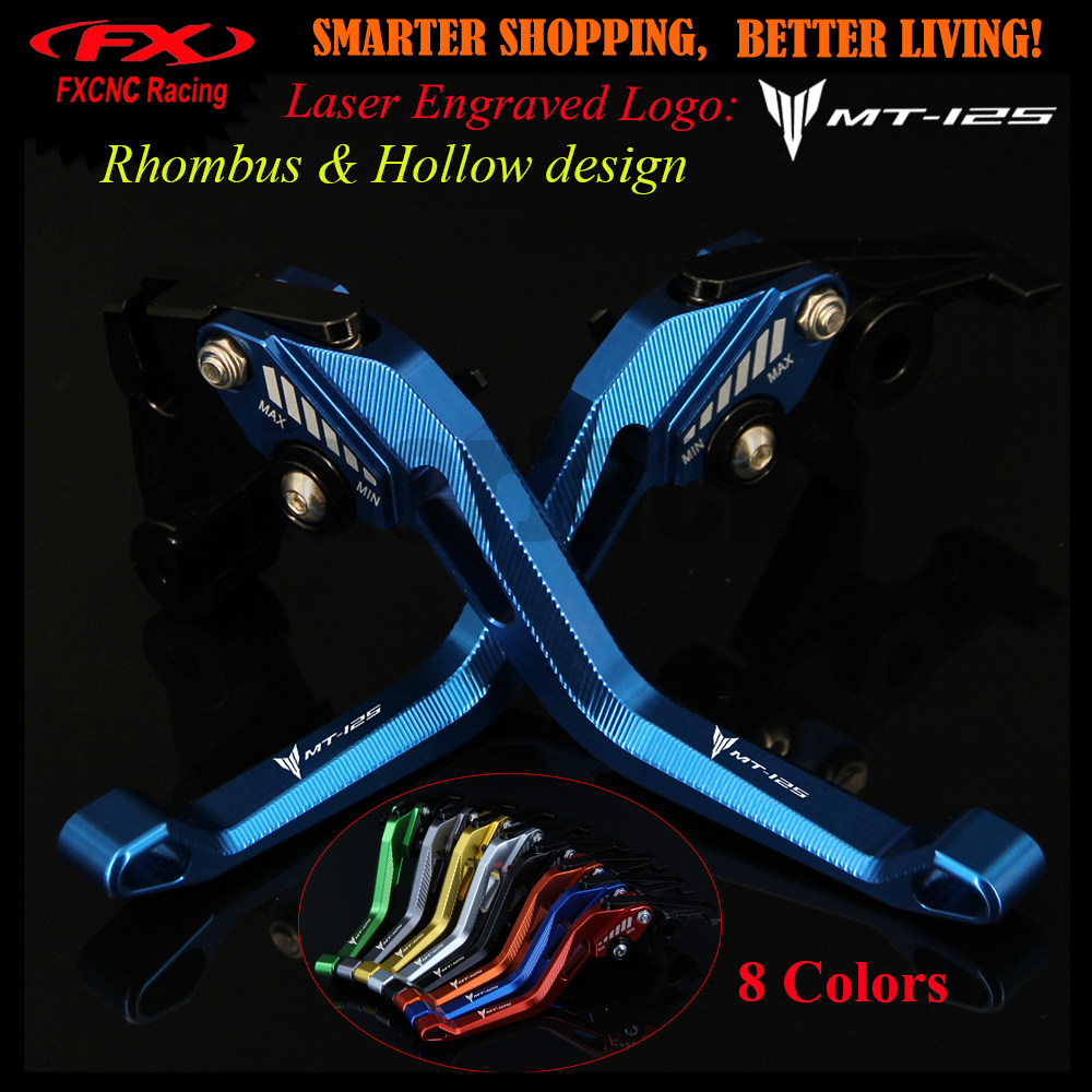 Logo 3D Rhombus Hollow design Blue Red Black Motorcycle CNC Brake Clutch Levers For YAMAHA MT-125  MT125 MT 125 2015-2016 15 16 6 colors cnc adjustable motorcycle brake clutch levers for yamaha yzf r6 yzfr6 1999 2004 2005 2016 2017 logo yzf r6 lever