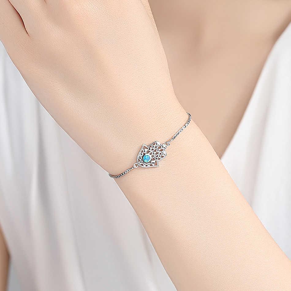 Синий кристалл из опала счастливый Глаз Хамса браслет серебряный шарм браслеты для женщин рука Фатимы регулируемый браслет модные ювелирные изделия