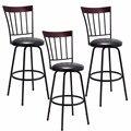 Giantex набор из 3 вращающихся барных стульев из искусственной кожи со стальным каркасом  стул для бистро-паба  новая мебель для бара HW55642