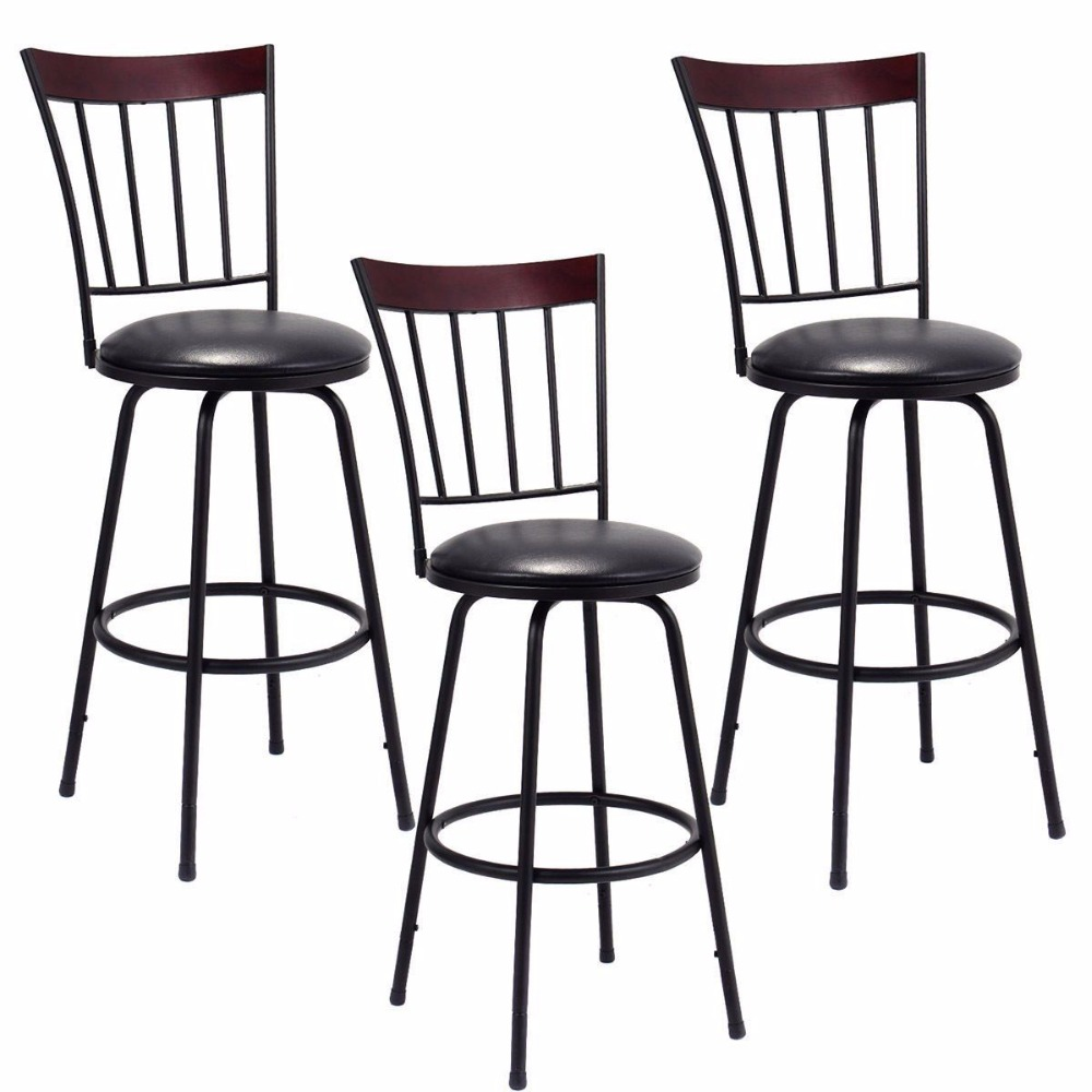 Giantex Set Of 3 Swivel Bar Stools PU Leather Steel Frame Bistro Pub Chair New Bar Furniture HW55642