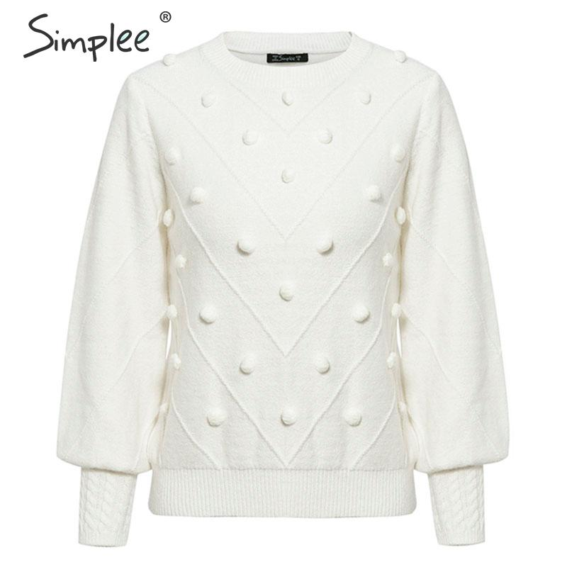 Simplee Elegant fur pompon women sweater O neck lantern sleeve knitted sweater female Streetwear ladies sweet pullover jumper
