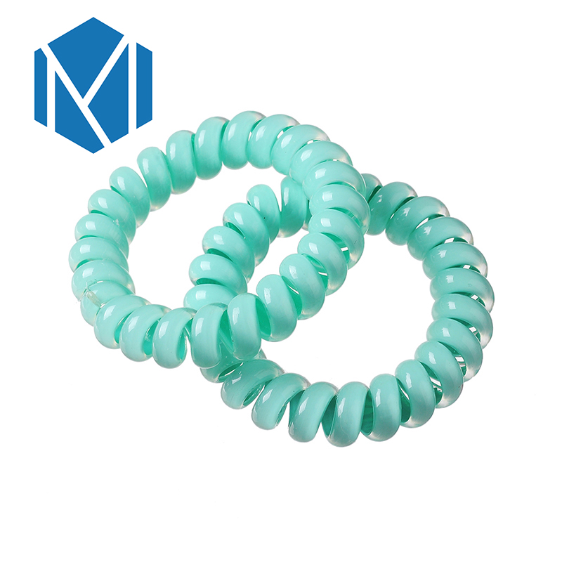 MISM 2pcs Female Elastic Hair Band Telephone Wire Line Cord Ponytail ...