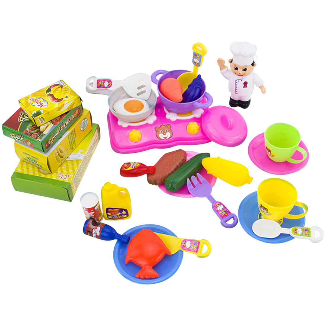 31pcs Colorful Kids Dinner Toy Food Dishes Tableware