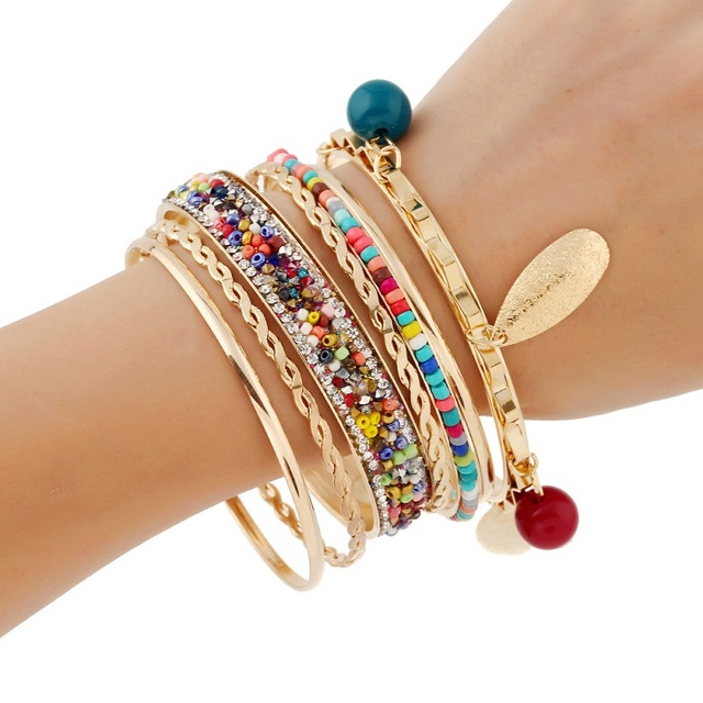2019 brand Fashion Crystal Curved Boho Ethnic multilayer Cuff Bracelet Statement