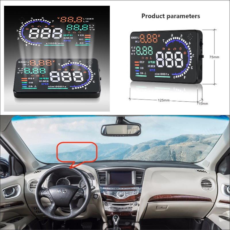 Car HUD Head Up Display For Infiniti QX60 QX70 QX80 2015 2016 - Safe Driving Screen Projector Inforamtion Refkecting WindshieldCar HUD Head Up Display For Infiniti QX60 QX70 QX80 2015 2016 - Safe Driving Screen Projector Inforamtion Refkecting Windshield