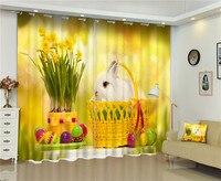 ブラックアウトウィンドウカーテンかわいいウサギ3dカーテン用キッズ寝具ルームリビングルームホテルドレープcortinasデサ