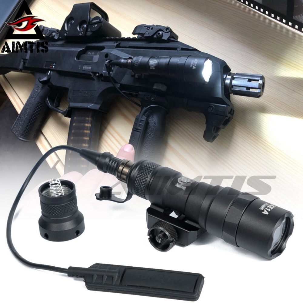 AIMTIS M300B Mini Scout Light Tactical Rail Light Rifle Hunting Flashlight Constant / Momentary Output for 20mm Picatinny Rail