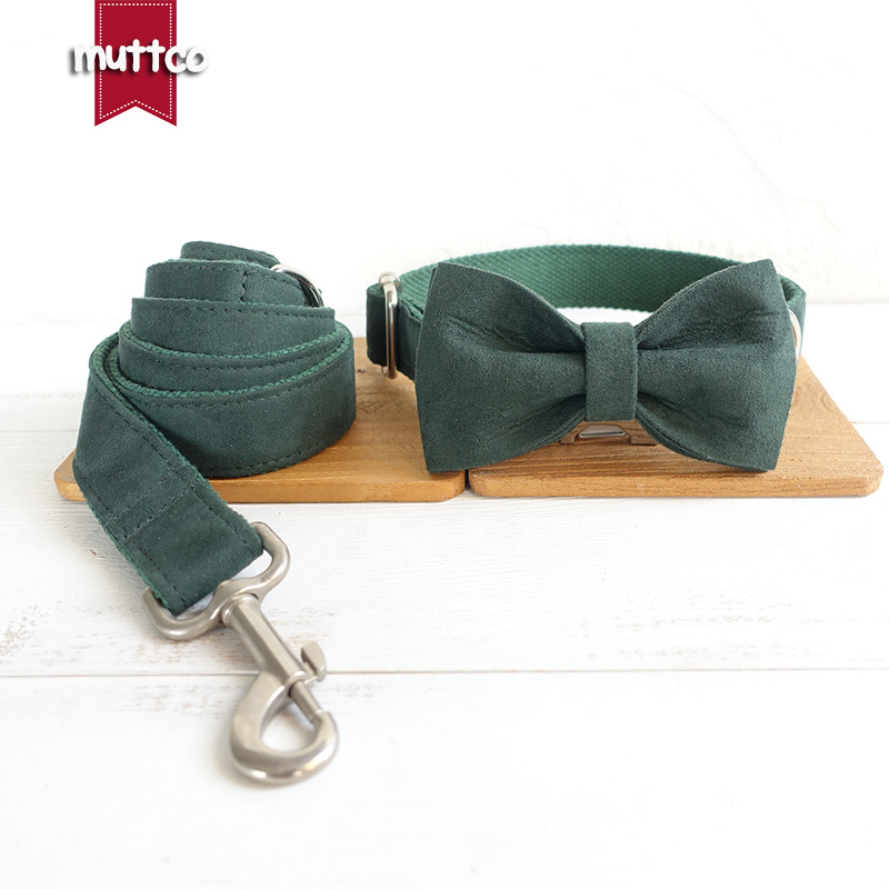 MUTTCO Dog collar and leash set with bow tie THE GREEN DAY creative design dog collar for Large Medium Small Dog 5 sizes UDC019