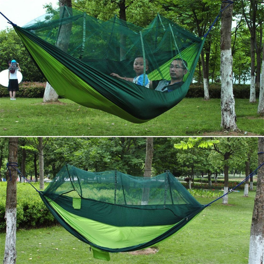 2 Person Hanging Hammock Bed With Mosquito Net Travel Outdoor Camping Tent Ultralight Portable Parachute Cloth Hammock Outdoor недорого