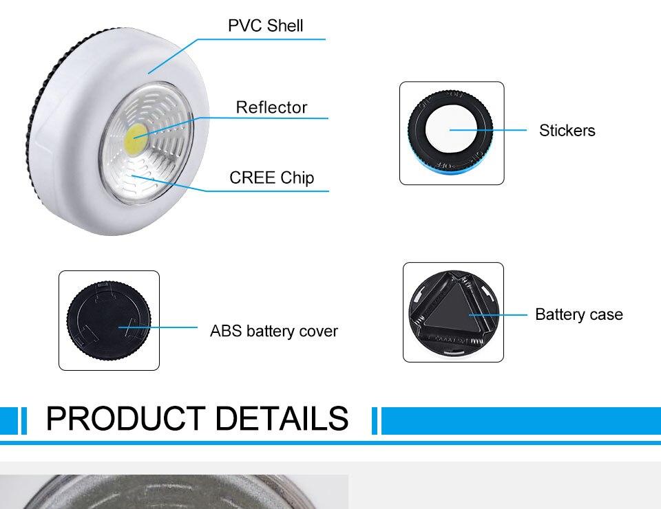 LED Novelty Lighting Wall Light Night Lights COB LED Stick Sticker Tap Touch Cabinet Wardrobe Corridor 3x AAA Batteries (5)