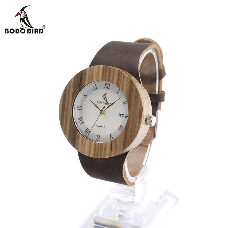 BOBO BIRD V-C01 Män Kvinnor Trä Timepieces Armbandsur Topp Luxury Vit Dial Automatisk Datum Quartz Watch for Ladies Montre Femme