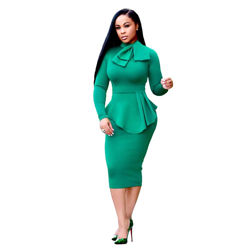 Africa Clothing Autumn Two Pieces Set Pencil Dress Long Sleeve High Waist Sheath Front Bow Elegant Office Lady
