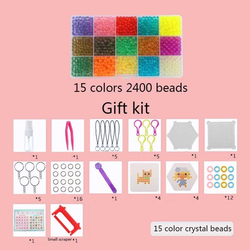 Hot Selling!!! Aqua Beads Set 3D <font><b>Puzzle</b></font> Toys with Templates Perler Beads Aquabeads Perlen Kids Educational Toys 5mm Hama Beads