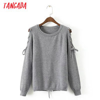 Tangada Women Elegant Lace Up Sweater Shoulder Off Backless O-neck Long Sleeve Fashion Autumn Pullover Female Casual Tops XD17