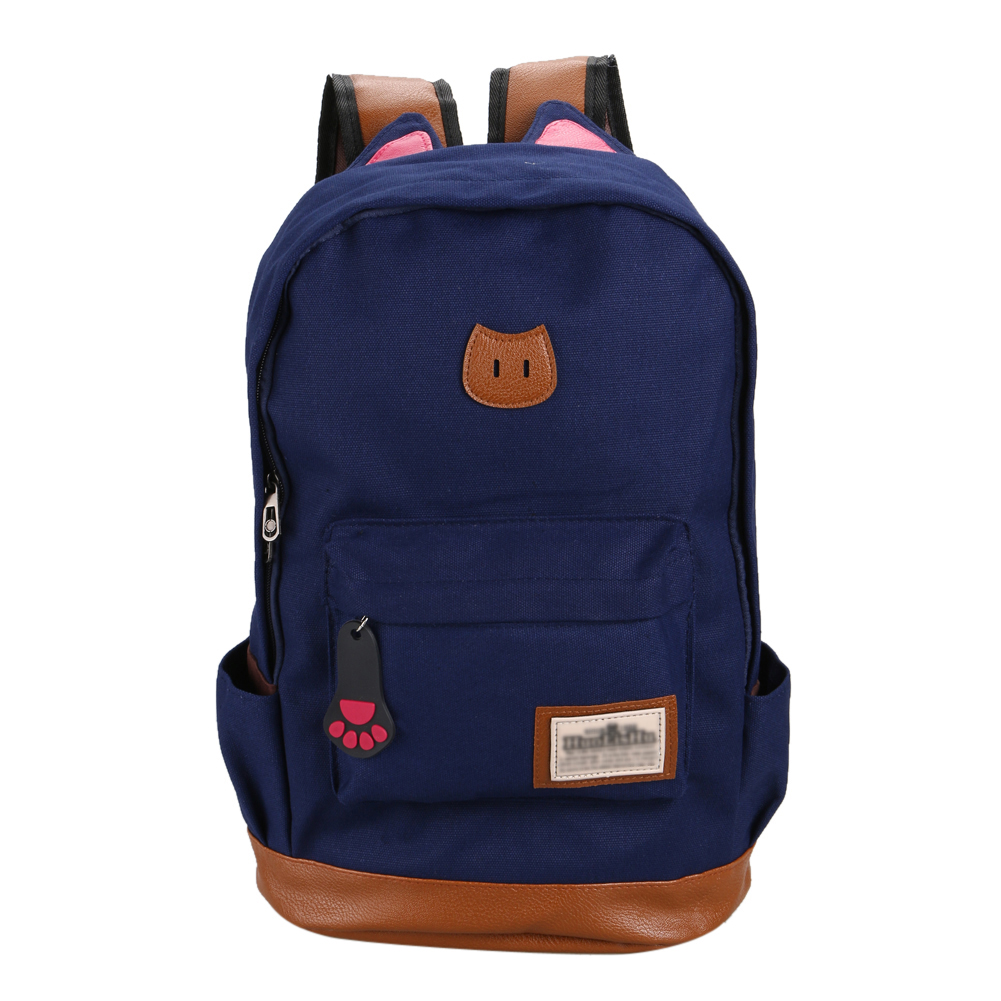 New Cat Ear Cartoon Canvas Backpack For Women Girls Satchel School Bags Cute Rucksack School Backpack