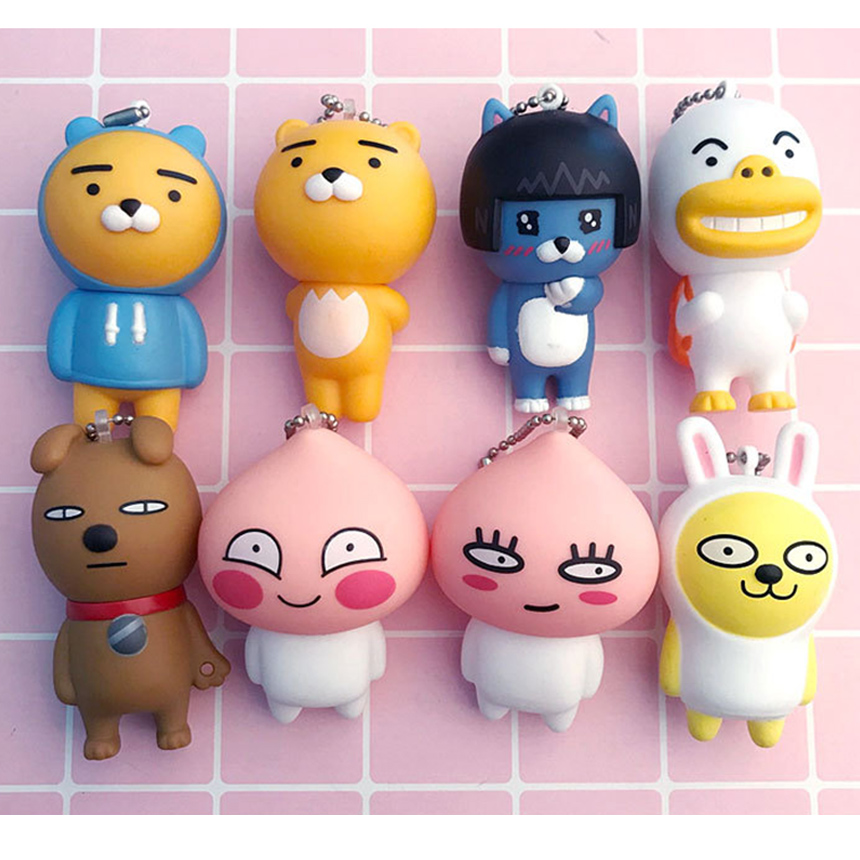 7cm Kakao Friends Action Figures Cute Keychain Bag Decor Pendants Cartoon Cocoa Friends Ryan Muzi Apeach Neo Frodo Toys for Kid