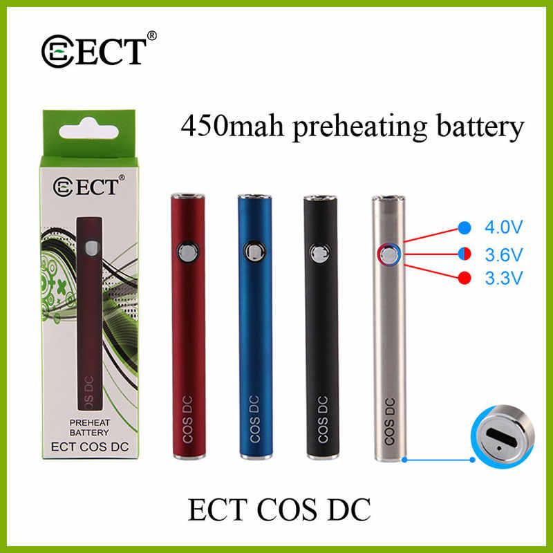 Оригинальный ECT COS 450 mah VV батарея предварительного нагрева для 510 потоков Vape батарейные блоки электронных сигарет зарядка через usb батарея предварительного нагрева поле Mod