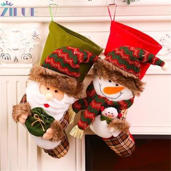 Zivue, 1 unids/lote, bonita bolsa de transporte, calcetín navideño para hombre mayor, muñeco de nieve, tienda de supermercado, apertura de suministros de decoración navideña