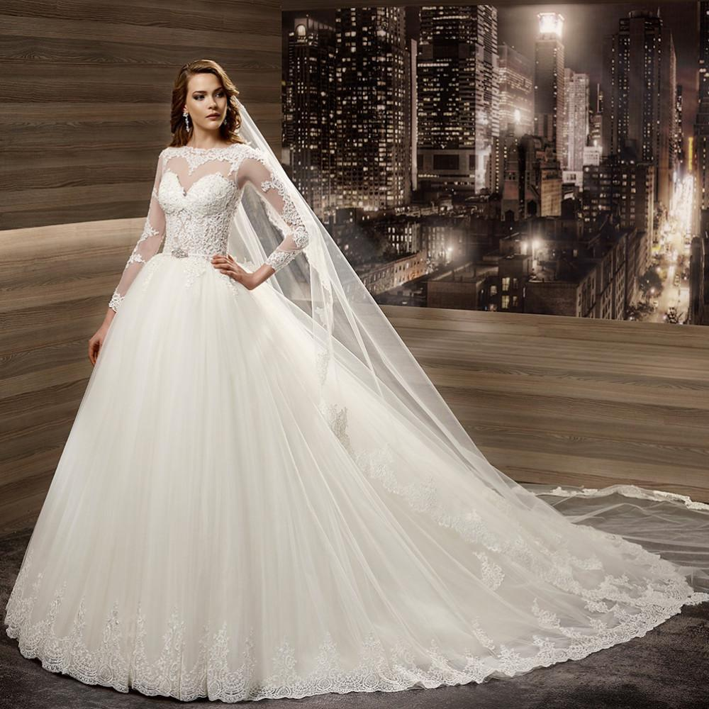 8fa79b4ff49 New Arrival Romantic Wedding Dresses 2016 Europe Illusion Sheer Lace A-Line Puffy  Tulle Skirt Full Sleeves Charming Bridal Gowns