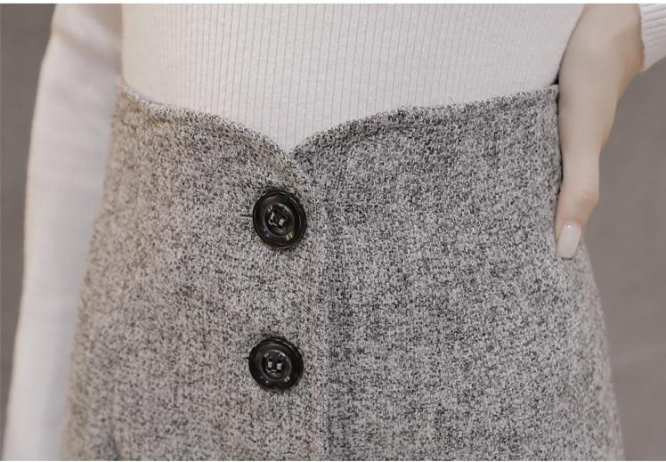 Neophil High Waist Woolen Button Pencil Midi Skirts Office Ladies Office Elegant Grey 19 Winter Wool Wrap Skirts Faldas S1738 17