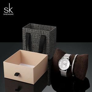 Image 4 - Shengke Fashion Silver Steel Women Watch Set with Box Luxury Bracelet Watches Wrist Watches Set Xmas Gift Watch for Women