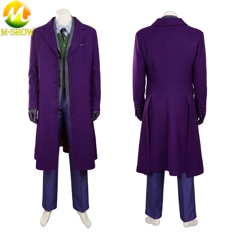 Batman Joker Costume Cosplay Man The Dark Knight  Coat Vest Pants Halloween Cosplay Purple Jacket Movie Hero Trench Accessories