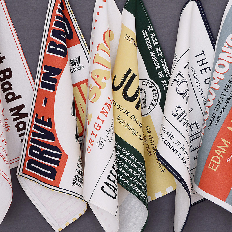 American Style Vintange Retro Letter Print cotton cloth mats pads rectangle placemats doilies table decoration accessories Sizes