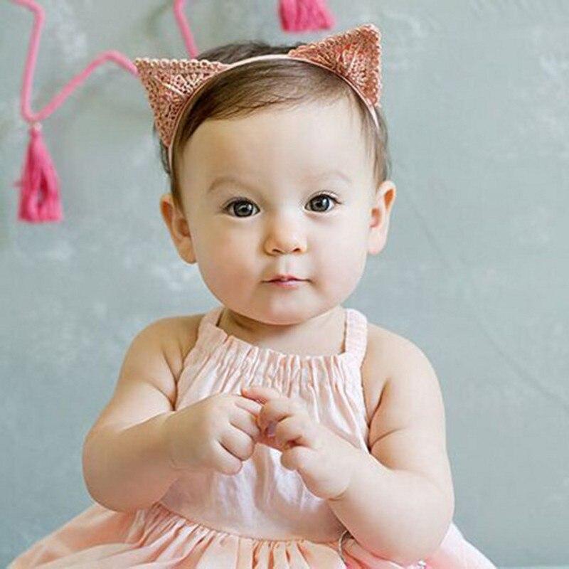 6b51de95480b3 لطيف القط الأذن شكل الطفل فتاة الشعر زينة الطفل الوليد هيرباند التصوير  الدعائم المحب أغطية الرأس شحن مجاني