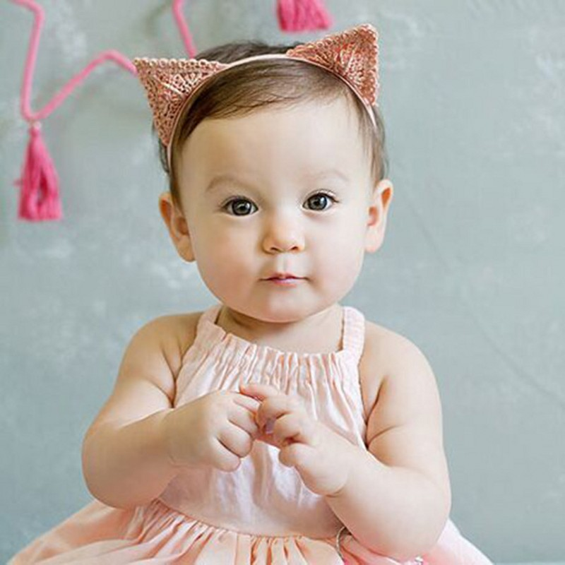 Cute Cat Ear Shape Baby Girl Hair Decorations Baby Newborn Hairband Photography Props Loverly   Headwear   Free Shipping