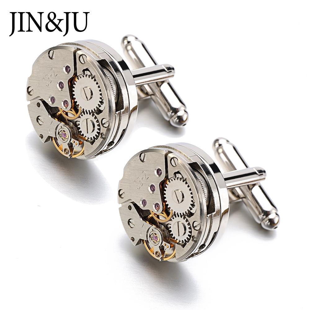 Jin&Ju Watch Movement Cufflinks For Immovable Steampunk Gear Watch Mechanism Cuff Links For Mens Relojes Gemelos
