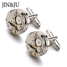 цена на Jin&Ju Watch Movement Cufflinks For Immovable Steampunk Gear Watch Mechanism Cuff Links For Mens Relojes Gemelos