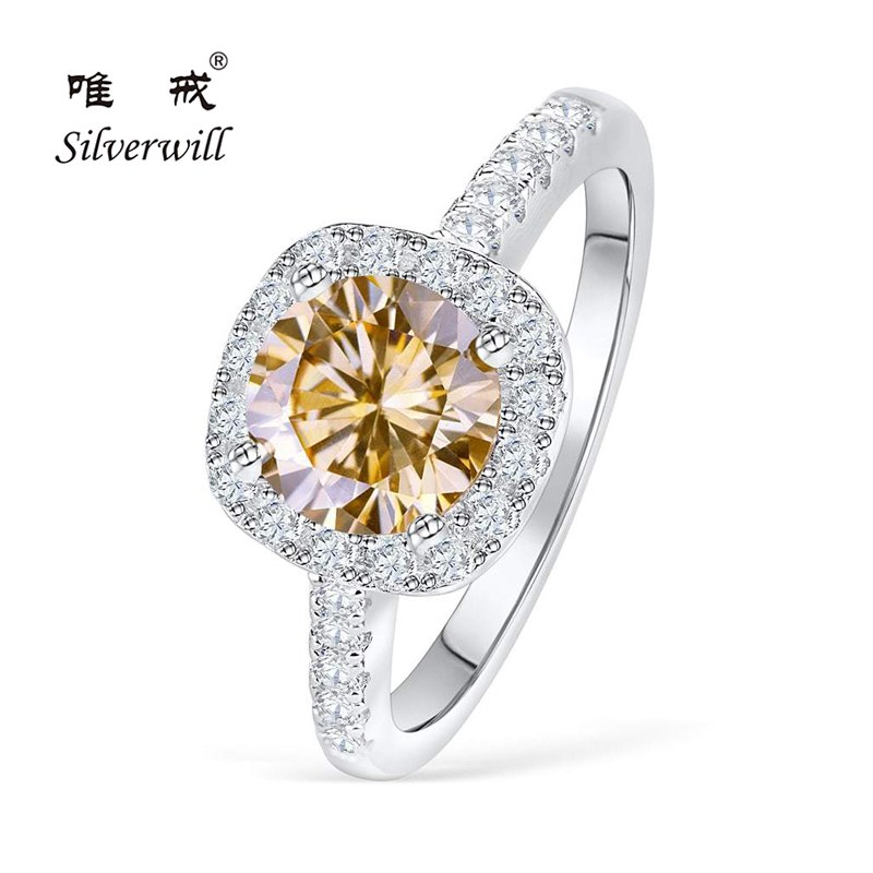 Silverwill 925 sterling silver cushion halo engagement ring Morganite center 1.5ct big stone rings affordable ladies accessories