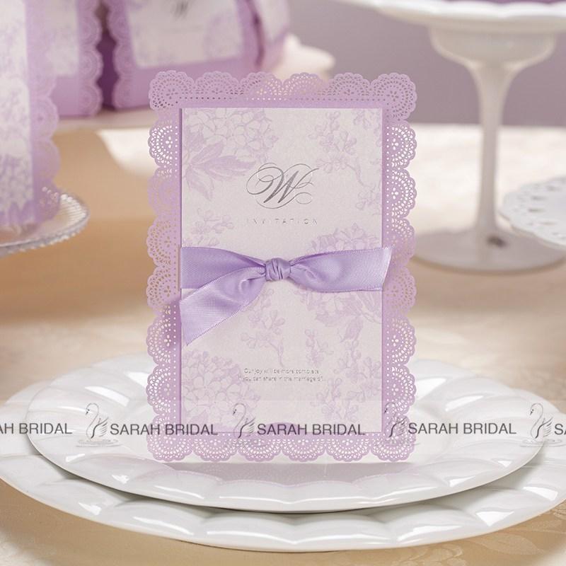 Lilac DIY Wedding Invitations Cards Ribbon Handmade Embossed ...
