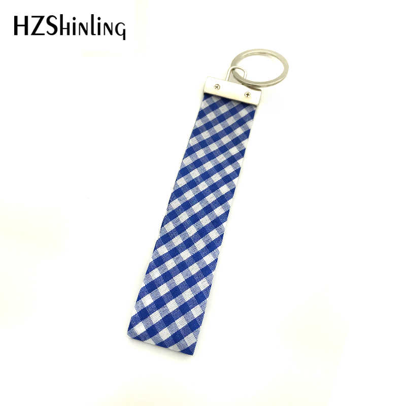 5fa106661e37 Ribbon New Check Pattern Wrist Key Holder Colorful Check Basketry Pattern  Fabric Key Fob Wristlet Keyring checks for Dog lovers