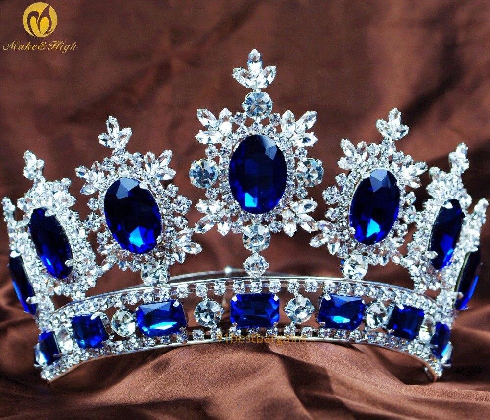 Royal Pageant Floral Crown Blue Crystal Clear Rhinestone Tiara Headband Brides Wedding Bridal Prom Party Hair