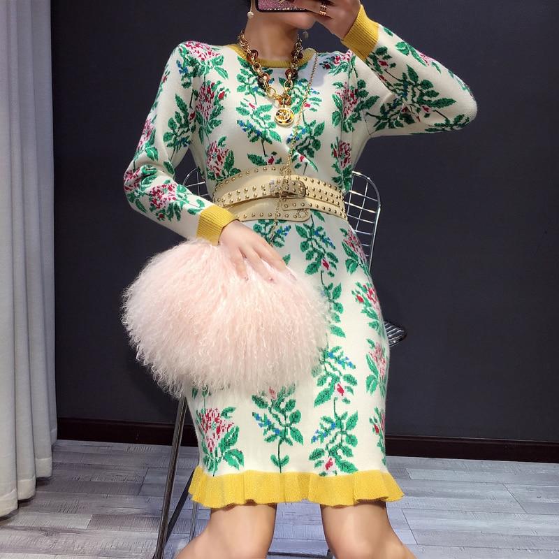 Dames Feuille Limitée Chandail 2018 Jacquard Tempérament Femelle Chaude Robe Costume Deux Pièce Vert Lotus Femme Tricot Jupe Hanche De Vente Printemps EE8xAP7q