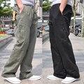 O envio gratuito de Verão masculinos casuais calças soltas macacão plus size 100% algodão Elástico Na Cintura Reta calças compridas 2xl xxxl 4xl 6x