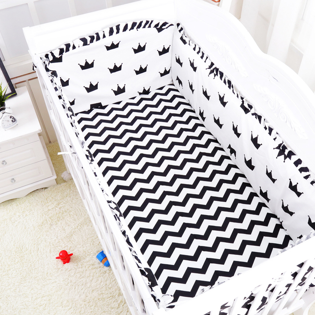 6 unids/set Negro Blanco Diseño de La Corona Del Bebé Juego de Cama ...