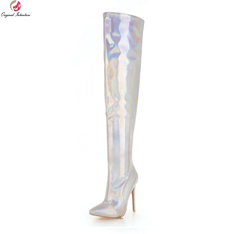 Original Intention Super Sexy Women Thigh High Boots Pointed Toe Thin High Heels Boots Gold Silver Shoes Woman Plus US Size 3-16 original intention high quality women knee high boots nice pointed toe thin heels boots popular black shoes woman us size 4 10 5