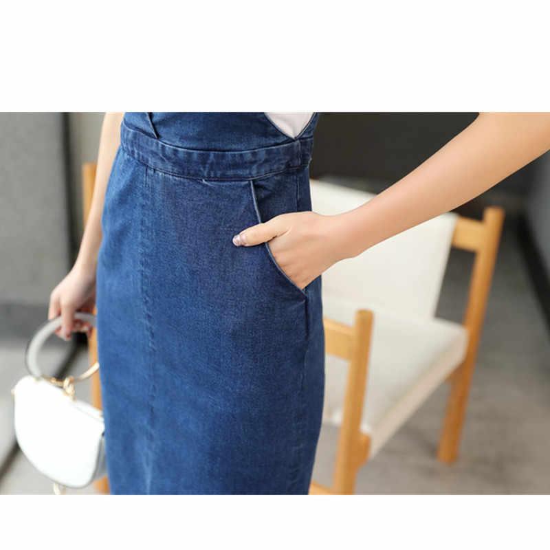 Корейская женская винтажная жилетка джинсовое платье Лето Без Рукавов сексуальный обтягивающий платье повседневное с карманом женское джинсовое платье Модная одежда