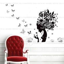 black butterflies flower sexy women head wall sticker decal large cheap vinyl silhouette poster girl home salon store decor