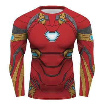 De camisa superhéroe medias top camiseta de compresión de manga larga Ironman gimnasio camiseta lycra camiseta de los hombres T camisa roja