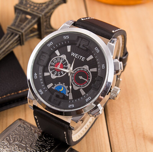 business men quartz undefined watches product leather big s for weite dial brand