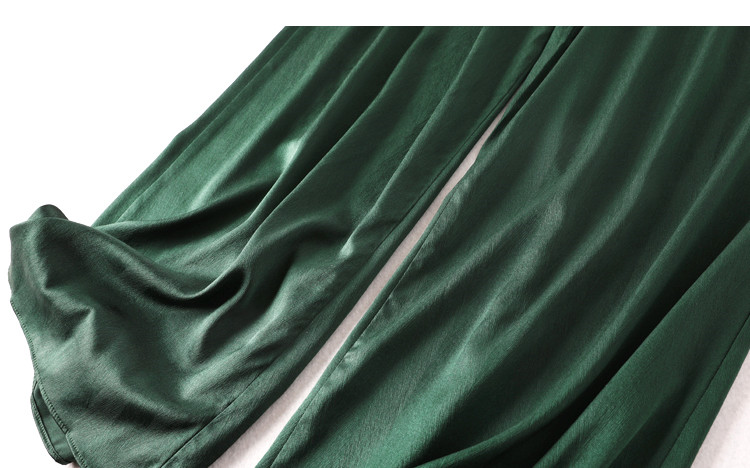 Suelto Natural Mujer Moda Verde Seda Ancha Trabajo Vacaciones Ol De Verano Pierna Estilo Primavera Pantalones Vintage wqRIt8n