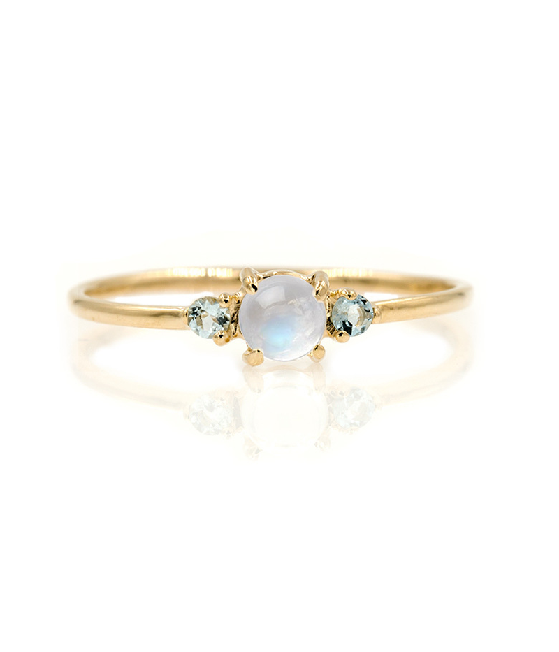 Cross - Border Supply of European and American Rings Moonstone Trio Gold Rings, Jewelry and Explosive Sales