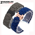 Replacement Watchband  23mm NEW Dark blue gary black brown white Silicone Rubber Diver Watch Strap Band For AR5890 AR5858 AR591