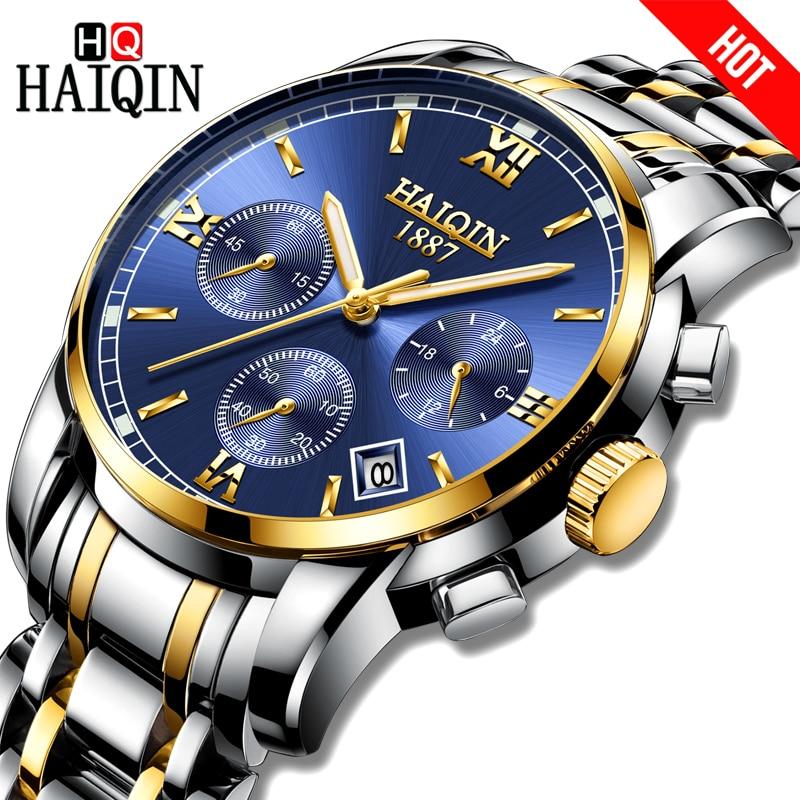 2018 Haiqin Men Watch Quartz Analog Stainless Steel Business Sports Clock Top Brand Waterproof Male WristWatch Relogio Masculino