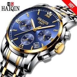 2018 haiqin relógio masculino relógio de quartzo analógico aço inoxidável negócios esportes marca superior à prova dwaterproof água relógio pulso relogio masculino