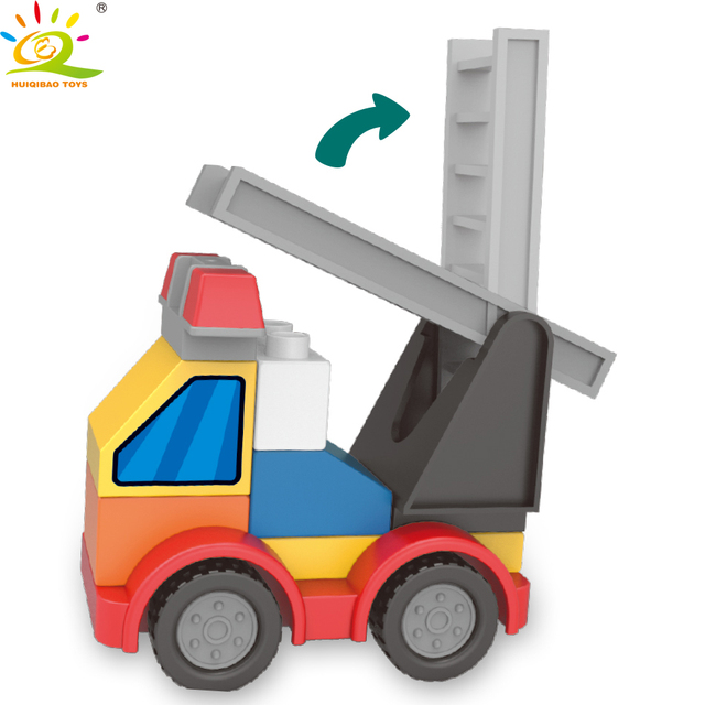 HUIQIBAO 181pcs Fire station Big Building Blocks Compatible Duploed City Firefighters figrues Bricks Educational Toys Children